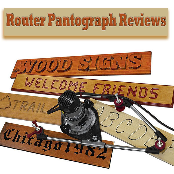 Different wooden signs made with a router pantograph