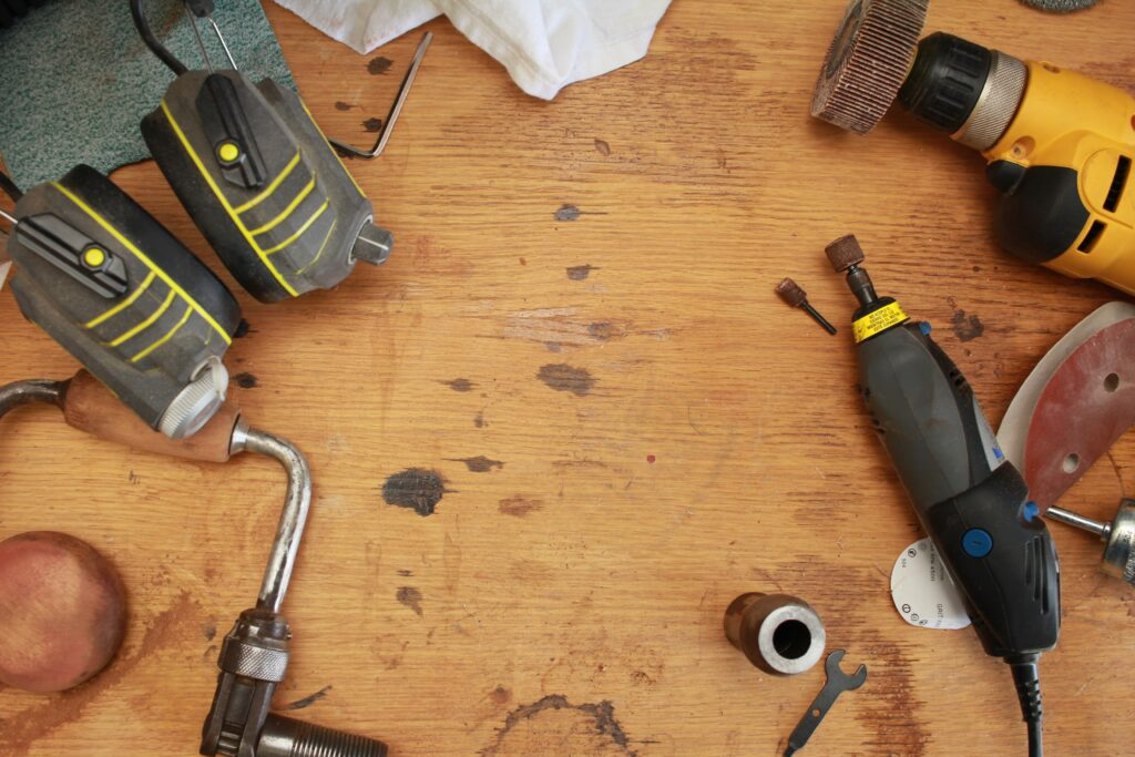 tools sitting on wood counter surface