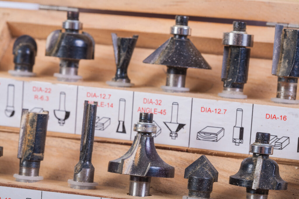 Rows of different router bits